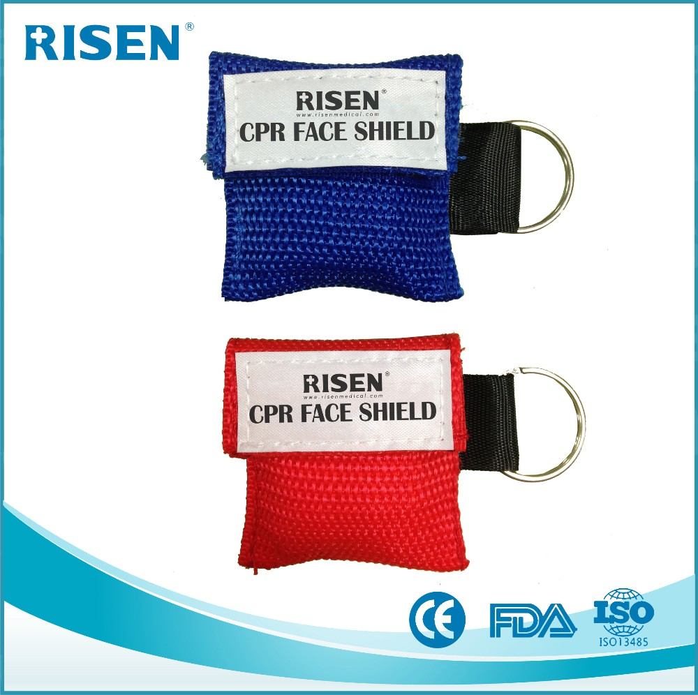 CE ISO disposable One Way Valve Portable Pocket CPR mask keychain/CPR Face shield